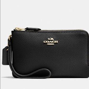 NWT Coach black leather double zip wristlet